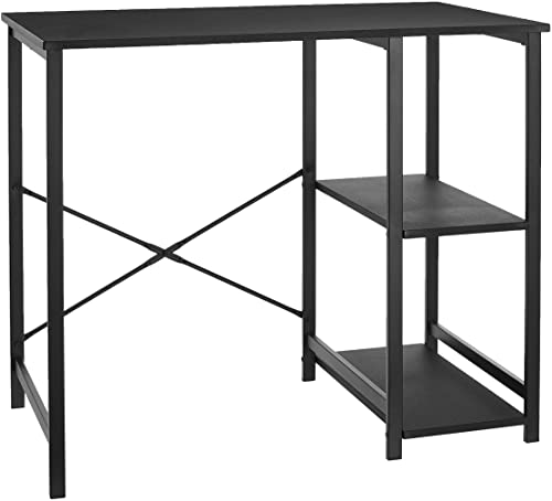 AmazonBasics Classic Computer Desk With Shelves – Black, BIFMA Certified