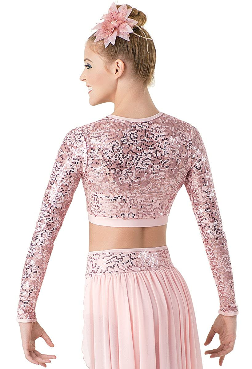 Balera Dance Crop Top Sequin Lace Long Sleeve