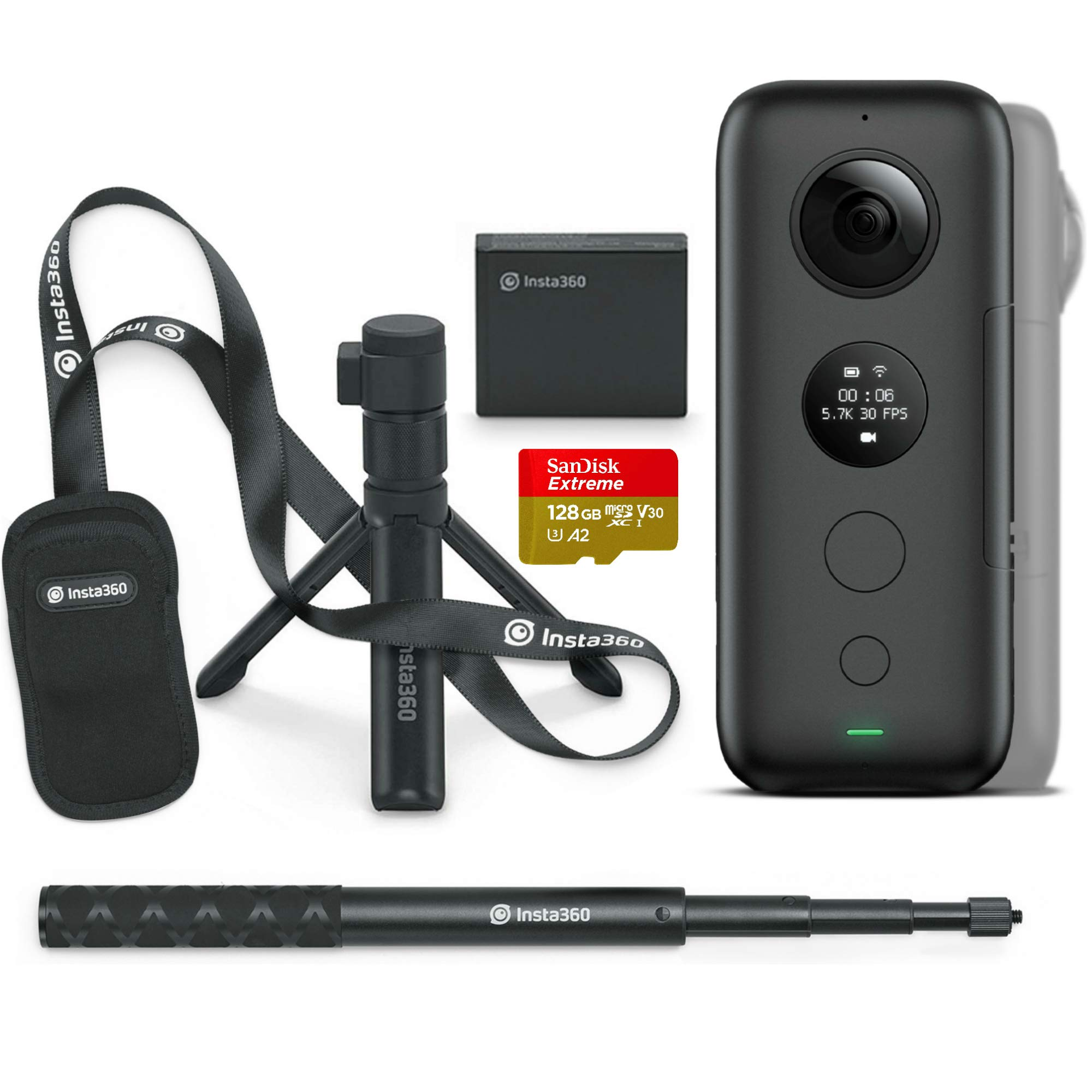 Insta360 ONE X All-in-One Bundle: Action Video Camera + Bullet Time Handle + Invisible Selfie Stick - FlowState Stabilization, 360 Degree Action 128 GB V30 microSDXC Card Included, Authorized Dealer by Insta360