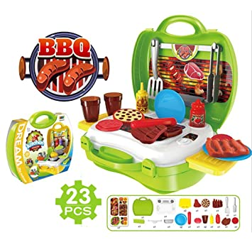 TIME4DEALS Spielzeug Grill Barbecue BBQ Set Grill-Set (23 Stücke ...