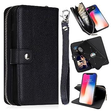 0b0be97524 Amazon | iPhone X ケース 手帳型 財布型カバー 分離式 高品質のPUレザー ...