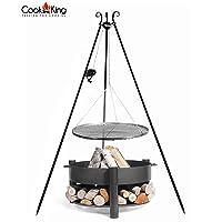 Montana CookKing Schwenkgrill XXL schwarz Garten ✔ rund dreieckig ✔ schwenkbar ✔ Grillen mit Holzkohle ✔ mit Dreibeinen