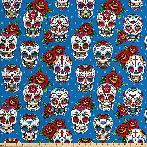 Ambesonne Sugar Skull Decor Fabric by The Yard, Retro Mexican Cultural Pattern on Polka Dots Rose Bouquets Skeletons, Decorative Fabric for Upholstery and Home Accents, Multicolor