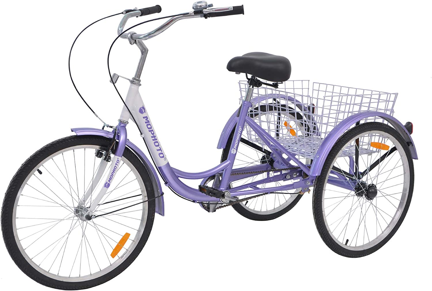 MOPHOTO Adult Tricycle 1 7 Speed Three Wheel Bikes for Adults, Meridian 26 Adult Tricycle for Men Women Seniors