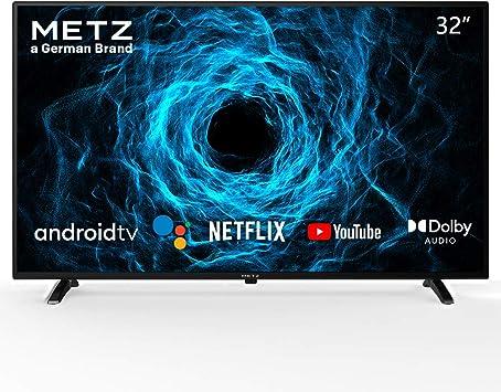 Televisión 32 Pulgadas Smart TV METZ 32MTC6000 Android TV 9,0 sin Marco Google Asistente Control Remoto por Voz 2 años de garantía (32