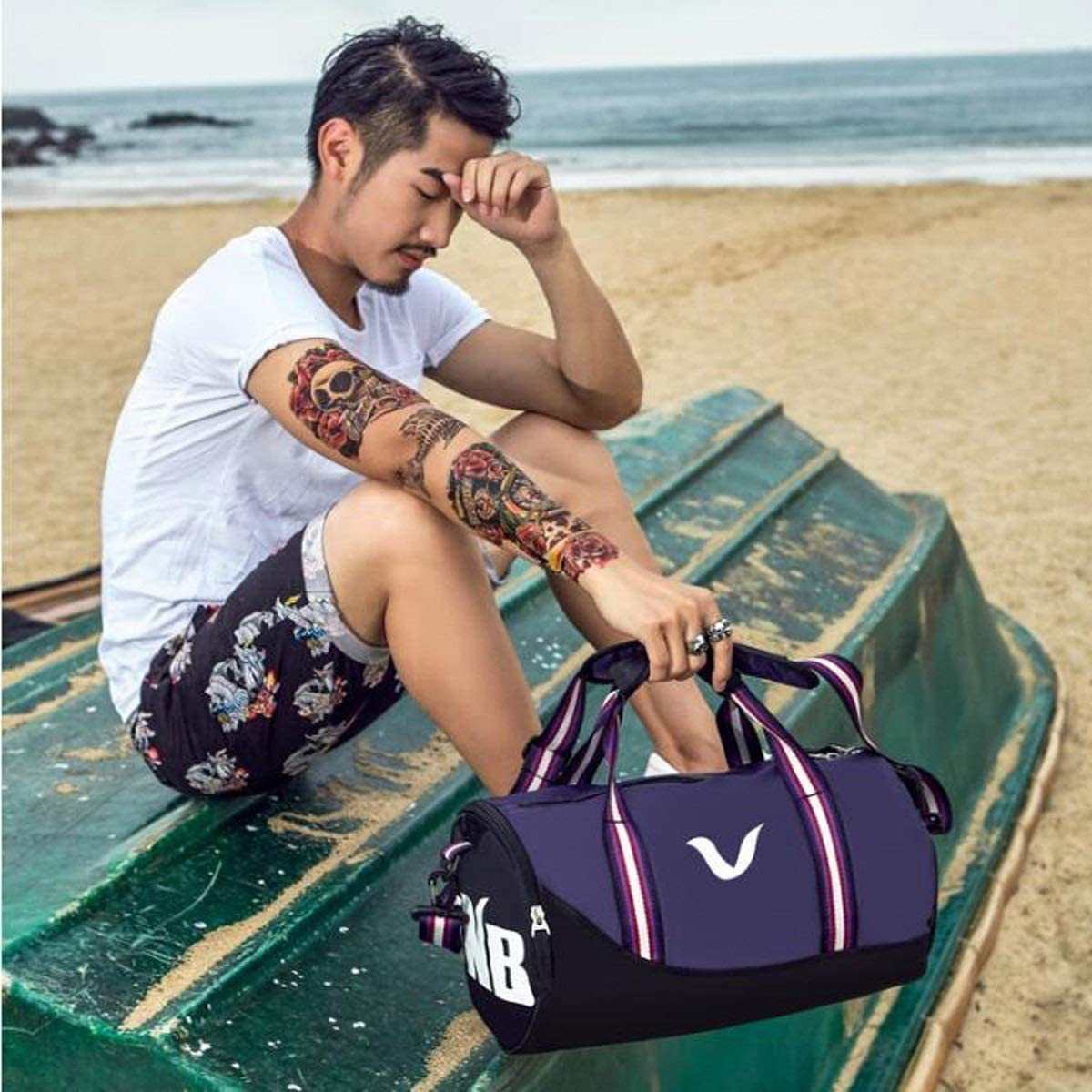 Qiaoxianpo01 Sports Bag Size: 432323cm Wear Resistant Wet and Dry Separation Waterproof Swimming Bag Large Capacity Gym Bag Cylinder Bag Men and Women Portable Messenger Bag