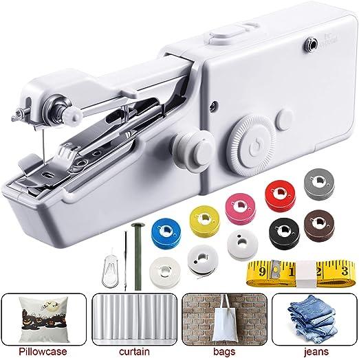 Máquina de Coser de Mano Máquina de Coser sin Cable Portátil Mini ...