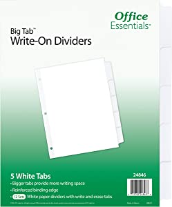 Office Essentials Big Tab Write-On Dividers, 8-1/2 x 11, 5 Tab, White Tab, 12 Pack (24846)