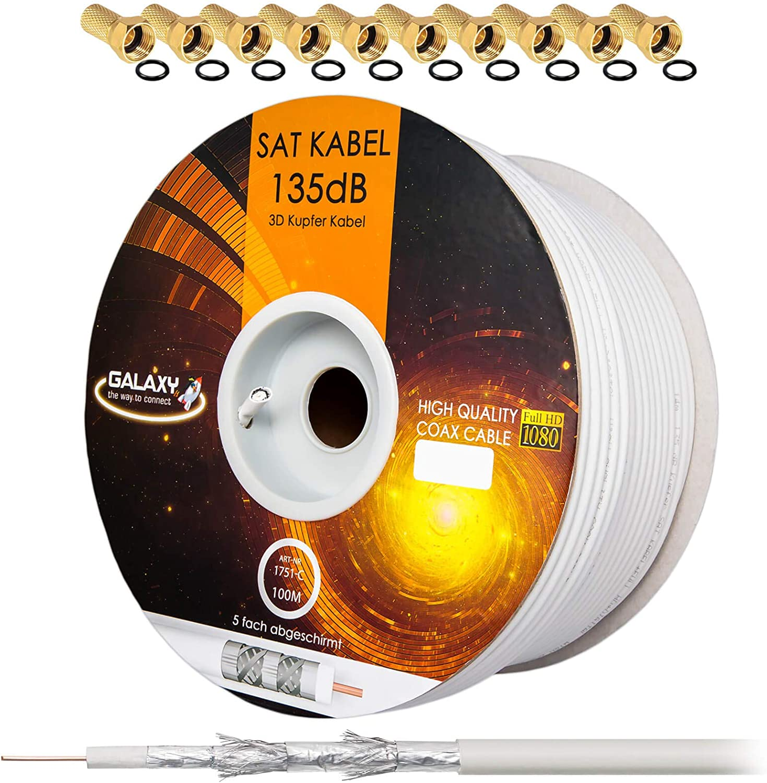 135dB Cable coaxial Sat de 100 m Cable coaxial de Cobre Puro Cable de Antena Blindaje de 5 Pliegues para DVB-S/S2 DVB-C y DVB-T + 10 enchufes F ...