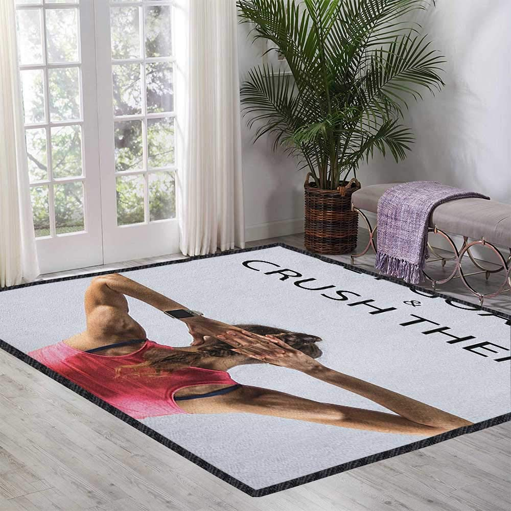 Fitness Modern Area Rug with Non-Skid,Athletic Model Woman Back View Set Goals and Crush Them Fit Female Body Form Anti-Static,Water-Repellent Beige Pink Black 55''x63'' by Philip C. Williams
