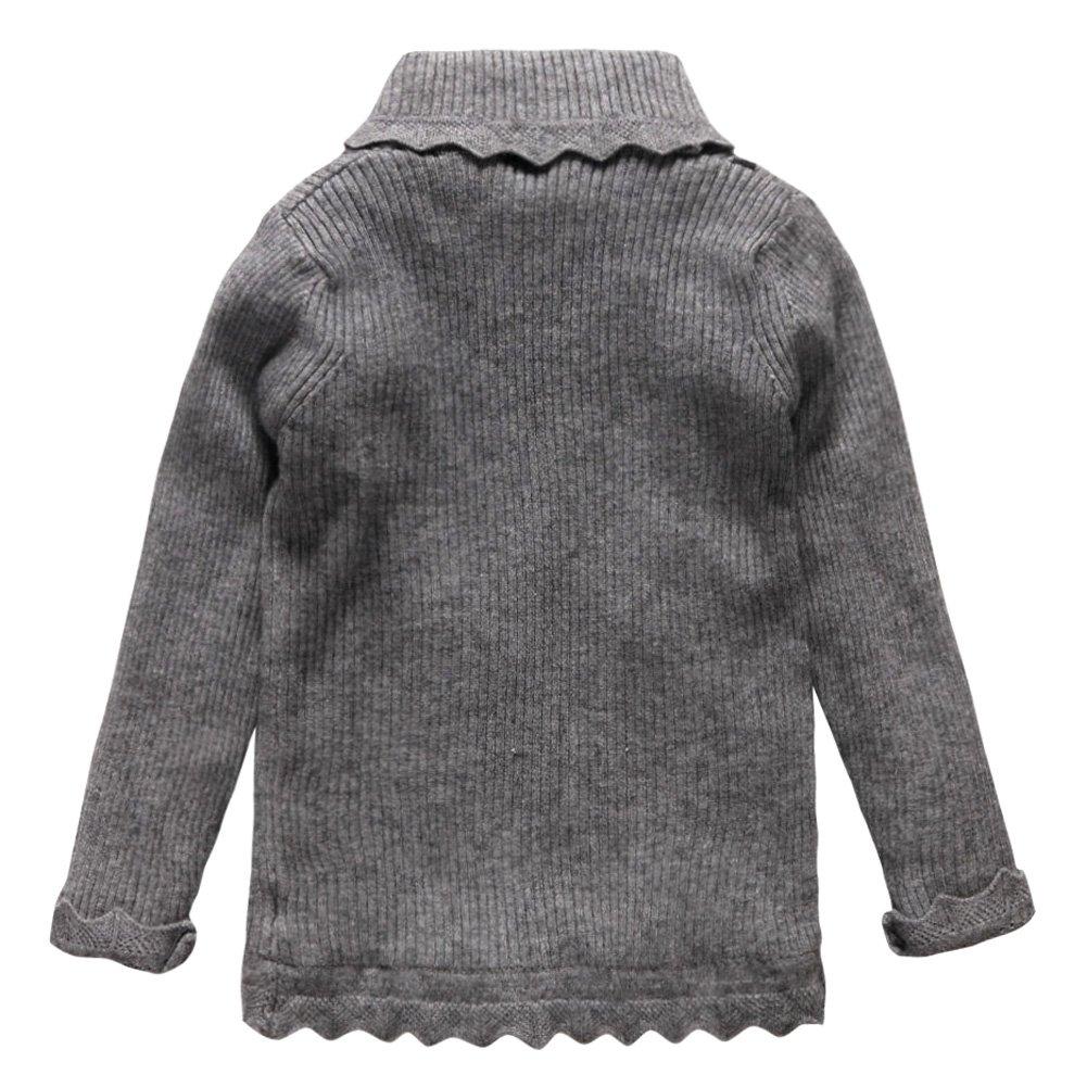 Coodebear Little Baby Girls Turtle Neck Velvet Lined Undershirts Sweater
