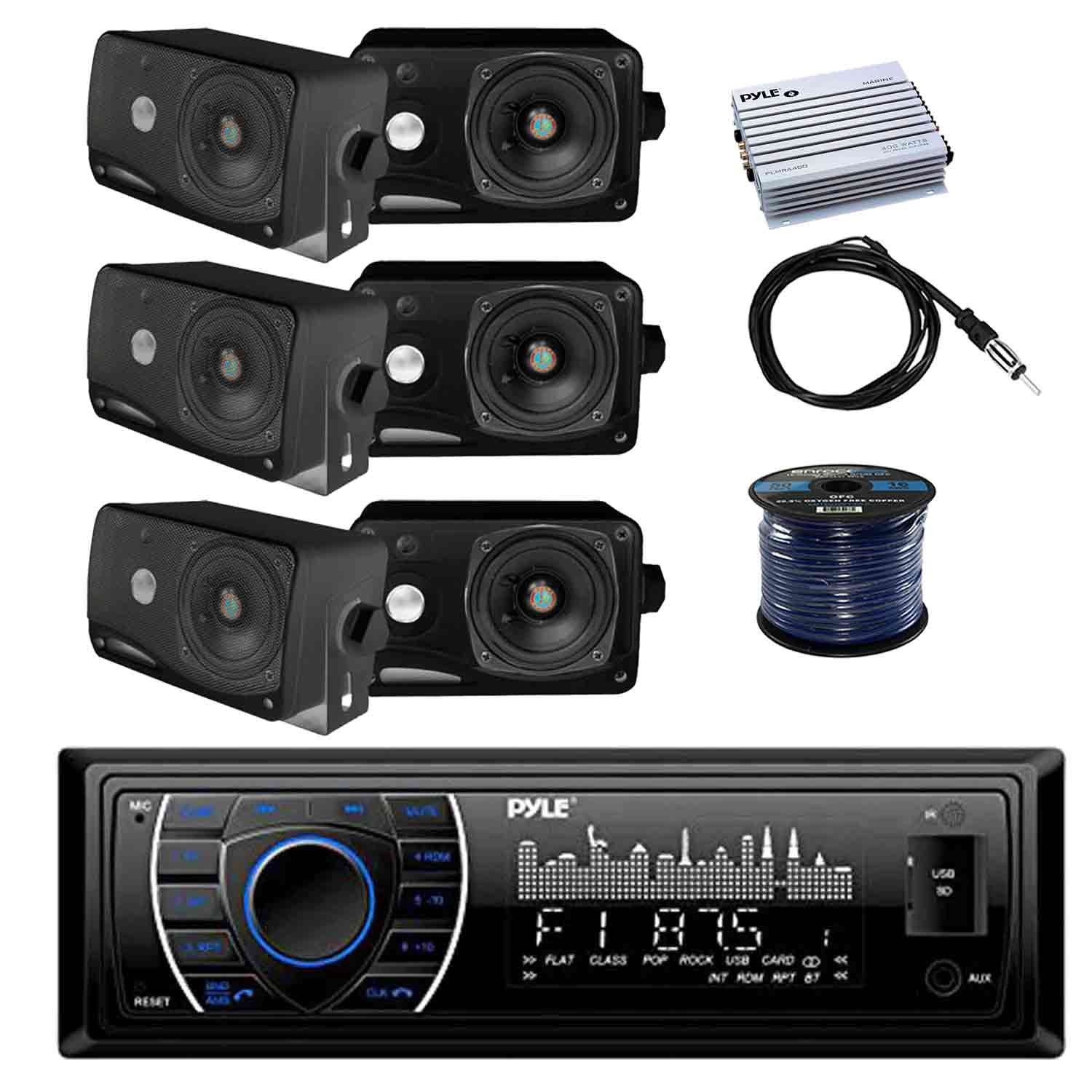 PYLE PLRMR27BTB Marine Bluetooth Receiver Stereo(Black) w/Pyle 3.5'' 200W 3-Way Weather Proof Mini Box Speakers(3-Pairs), Pyle 4-Chan 400W WP Marine Amp, Enrock Marine Antenna & 50' 16G Speaker Wire