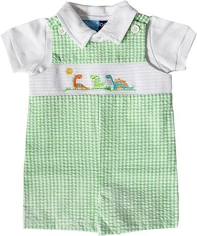Good Lad Newborn//Infant Boys Smocked July 4th Embroidered Seersucker Shortall