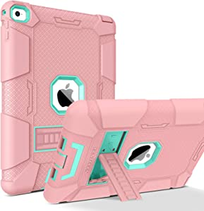BENTOBEN iPad Air 2 Case, [Hybrid Shockproof Case] with Kickstand Rugged Triple-Layer Shock Resistant Drop Proof Case Cover for iPad Air 2 with Retina Display/iPad 6, Rose Gold/Green