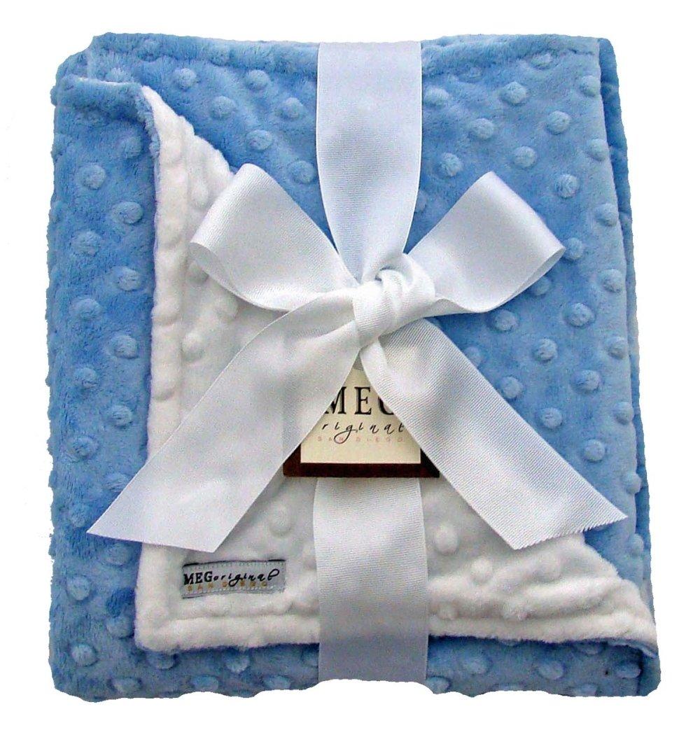 Meg Original Baby Blue & White Minky Blanket by MEG Original   B0087SH2X0