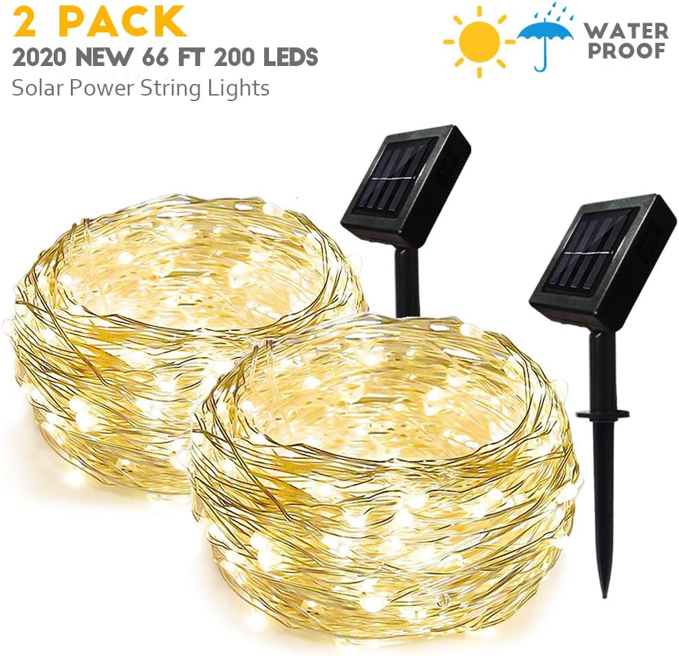 Homemory Solar String Lights, 66 ft 200 LEDs Outdoor Fairy Lights Copper Wire Lights, Waterproof Solar Christmas Lights, Indoor Twinkle Lights for Patio, Yard, Halloween Decor(2 Pack,Warm White)