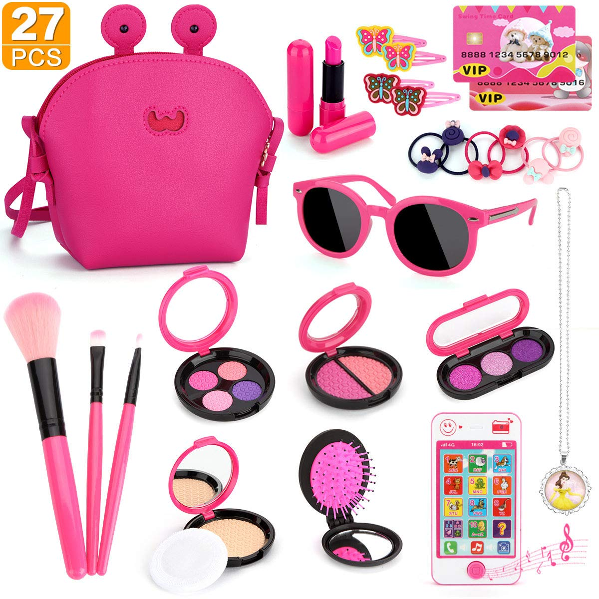 Kids Makeup Kit - Girl Pretend Play Makeup My First Purse Toy for Toddler Gifts Including Pink Princess Purse, Smartphone, Sunglasses, Credit Card, Lipstick, Brush, Lights Up & Make Real Life Sounds by Tudoccy