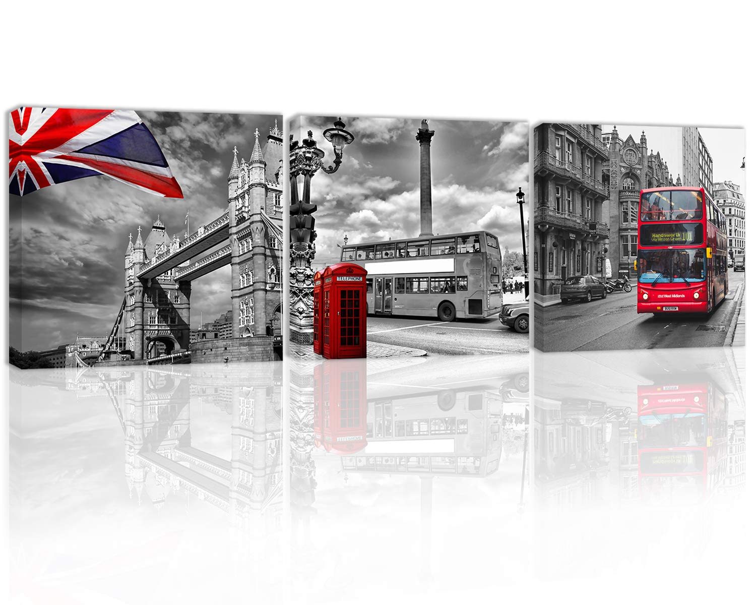 Black and White Red Tower Bridge with British Flag Wall Art Decor Street View of England London City Lamp Bus Telephone Booth Canvas Painting Kitchen Prints Pictures for Home Living Dining Room