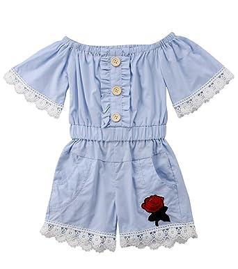 7e352771344c Urkutoba Toddler Kids Girl Button Down Off Shoulder Bib Short Pants 3D  Floral Sewing Romper Jumpsuit