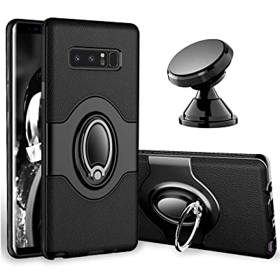 eSamcore Samsung Galaxy Note 8 Case Ring Holder Kickstand Cases + Dashboard Magnetic Phone Car Mount [Black]: Electronics