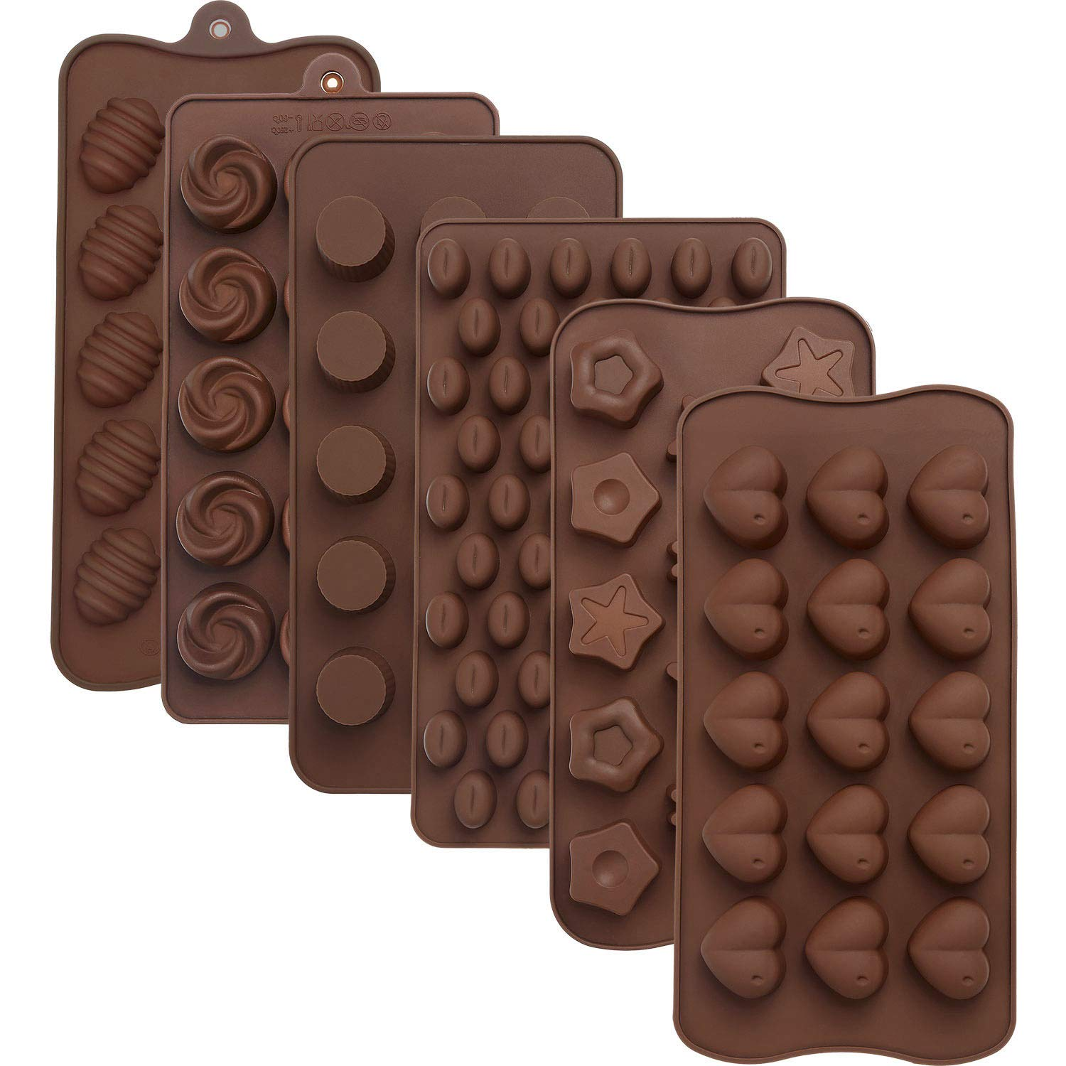 Maxdot 6 Pieces Silicone Chocolate Mold Cake Cookie Mould Candy Baking Mold for Chocolate Cake DIY