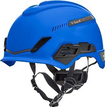 Casco de Seguridad MSA V-Gard H1 Trivent para Escalada - con ventilación - Azul - 52–64 cm - Casco con barboquejo para Trabajo en Alturas y Rescate - ...