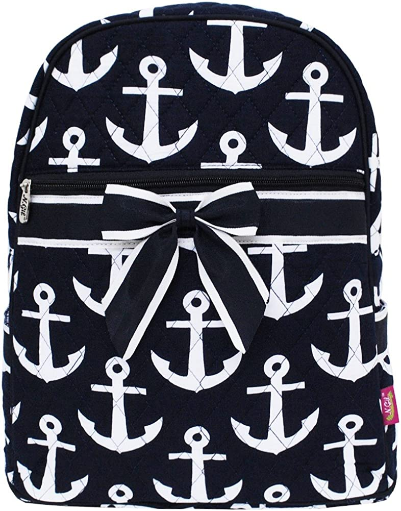 Navy White Anchor Print Quilted Backpack