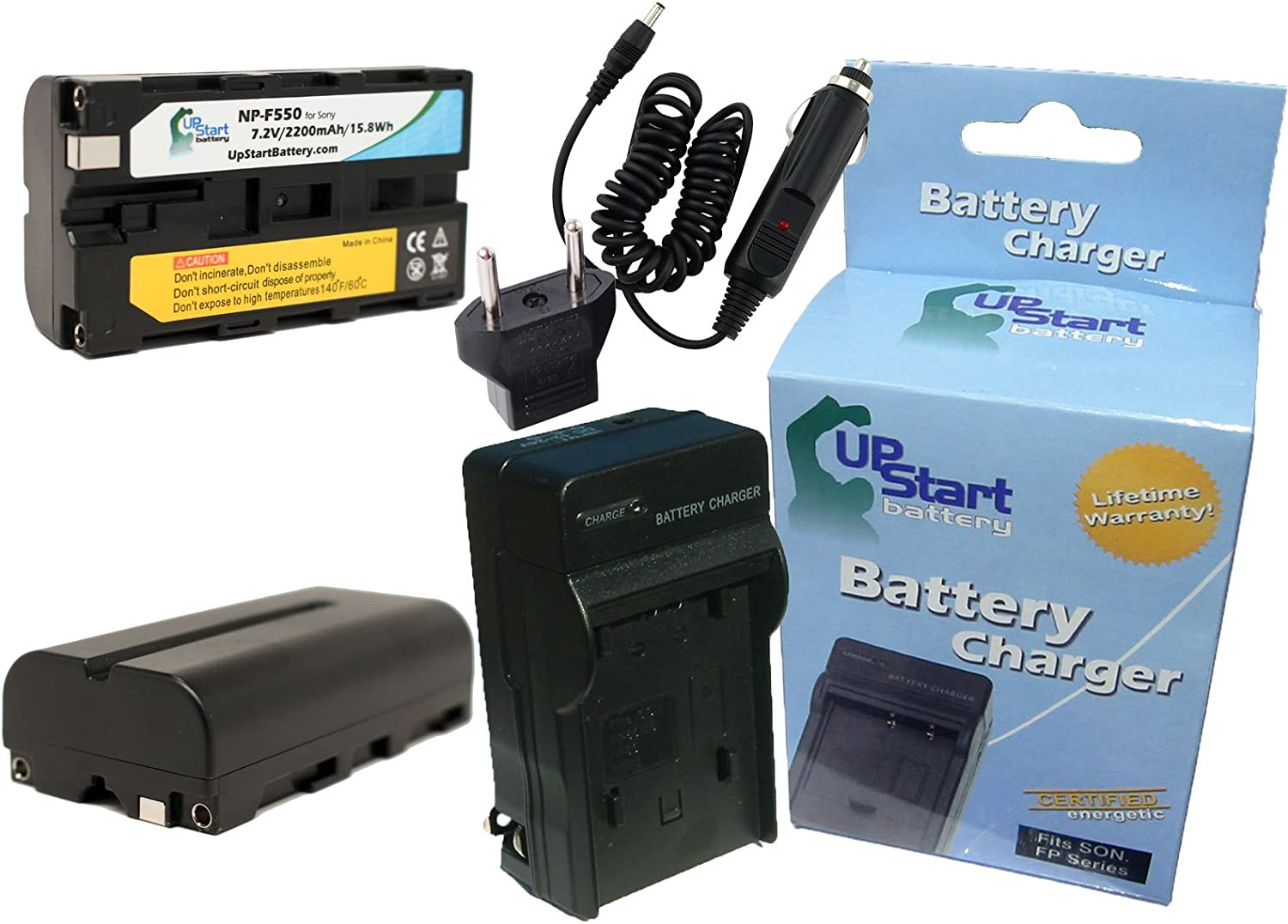 Charger with Car /& EU Adapters Replacement for Sony CCD-TRV68 Battery 2200mAh 7.2V Lithium-Ion 2 Pack Compatible with Sony NP-F550 Digital Camera Battery and Charger