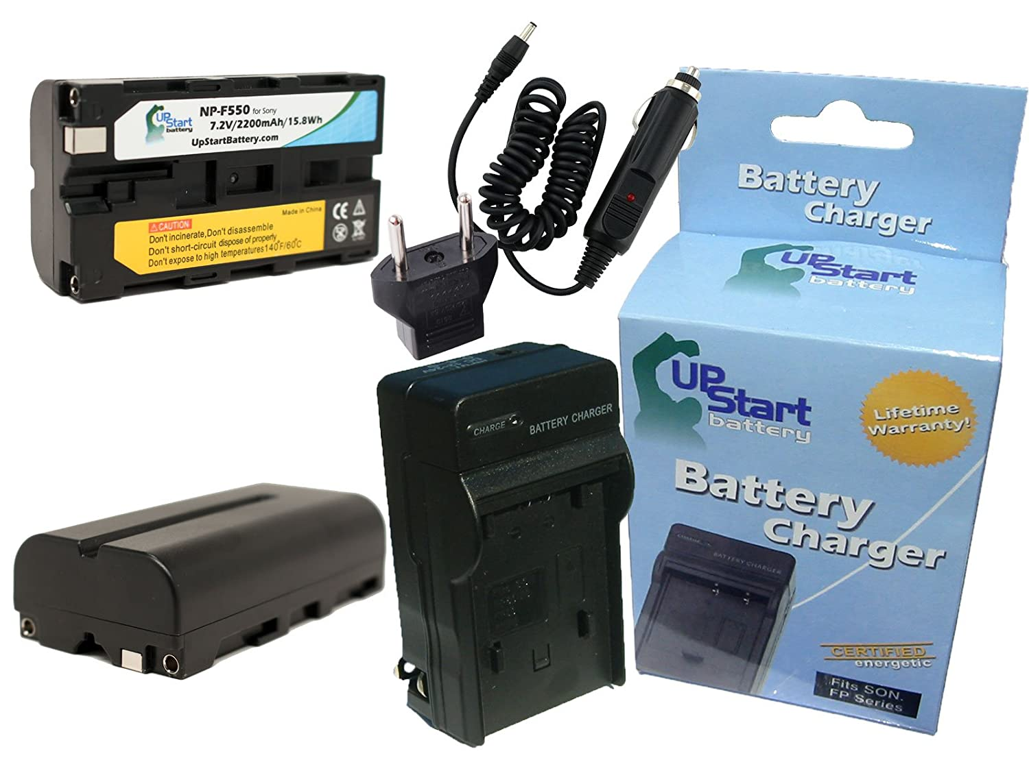 2x Pack - Sony DSR-PD170P Battery + Charger with Car & EU Adapters - Replacement for Sony NP-F550 Digital Camera Battery and Charger (2200mAh, 7.2V, Lithium-Ion) Upstart Battery NP-550-2BATT1CH-CAR-EU-DL237