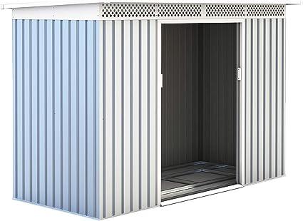 Gardiun KIS12135 - Caseta Metálica Rutland 3, 93 m² Exterior 142x277x184 cm Acero Galvanizado Silver/Blanco: Amazon ...