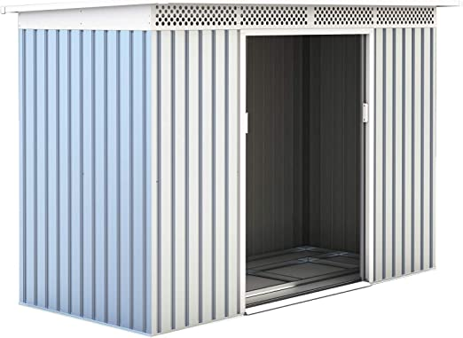 Gardiun KIS12135 - Caseta Metálica Rutland 3, 93 m² Exterior 142x277x184 cm Acero Galvanizado Silver/Blanco: Amazon.es: Jardín