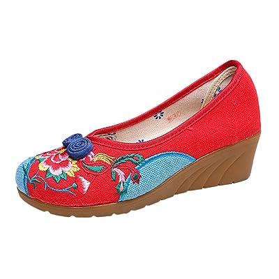 5323f51cf4cc Icegrey Femme Mary Janes Fait Main Broderie Fleur Ballerine Chaussures Plat  Chaussures Bateau avec Boucle Noeud