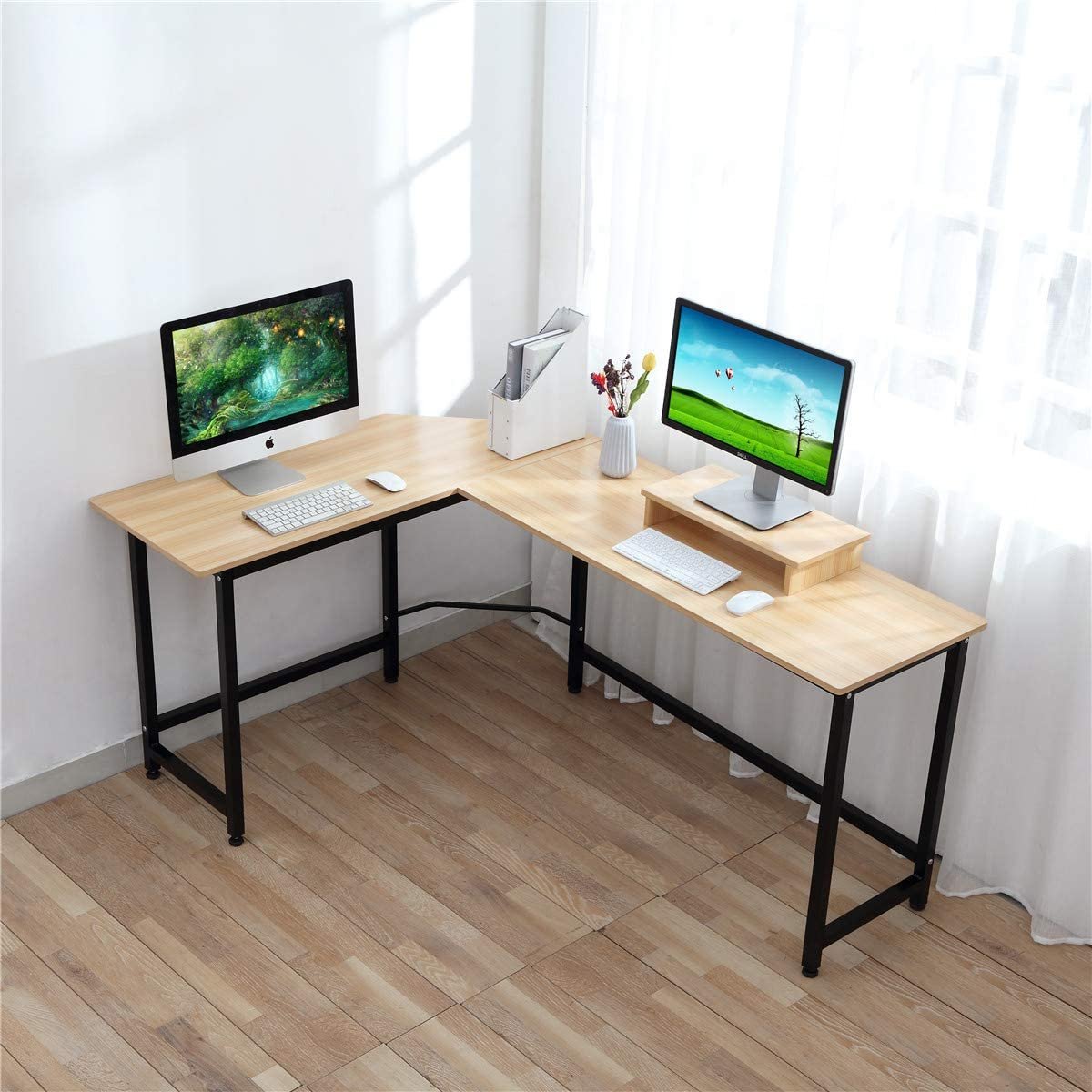 Computer Desk – CrazyLynX Corner Desk PC Workstation Table with Monitor Stand for PC Laptop, for Home Office, Wood Metal Teak-N