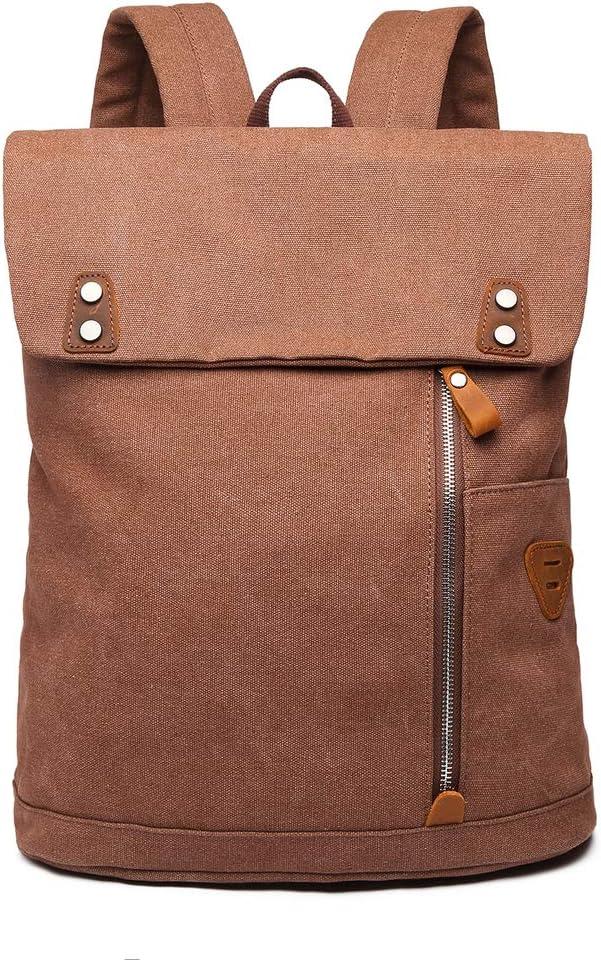 Wxnow Large Vintage Canvas Backpack School Bookbags Stylish Travel Rucksack 15 inches Laptop Bookbag for Women Men Orange Brown