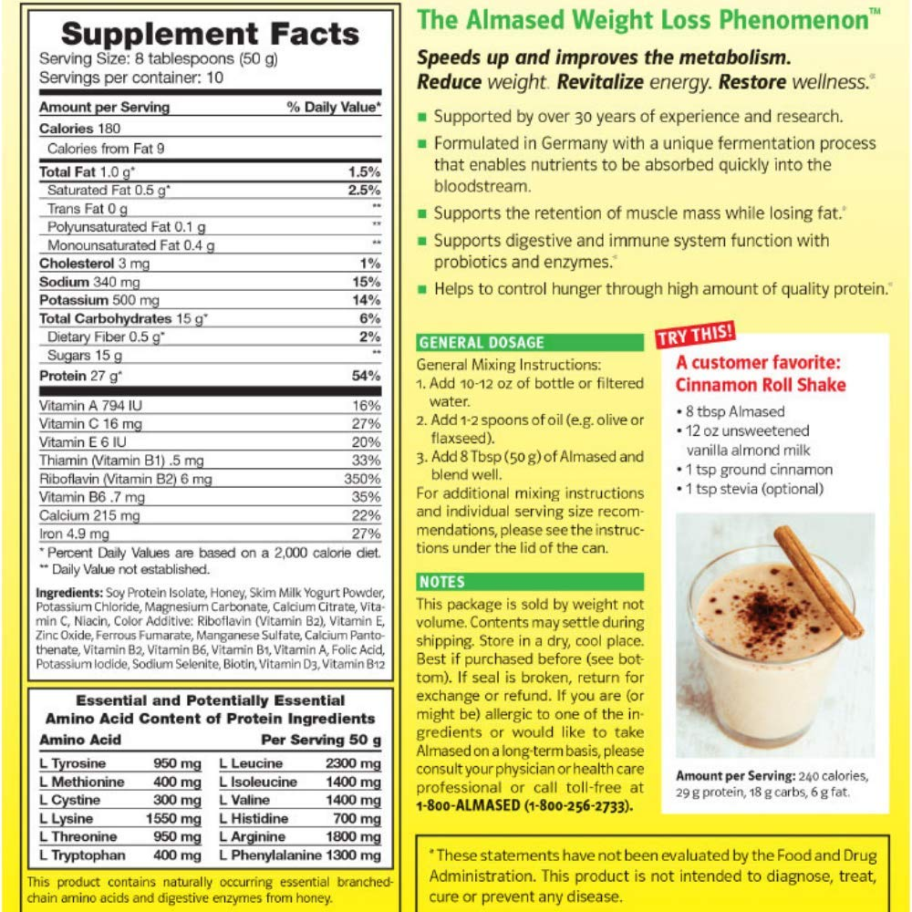 Almased Meal Replacement Shake Plant Base Protein Weight Loss Formula Low Glycemic High