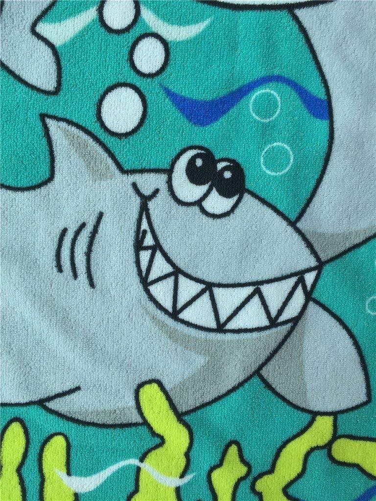 Dingcaiyi Bande Dessin/ée pour Enfants Serviette De Bain Peignoir B/éb/é Enfant Peignoir /À Capuchon Cape Cape 1-6 Ans Fille B/éb/é Enfant en Bas /âge pour La Baignade Deep-Blue Shark