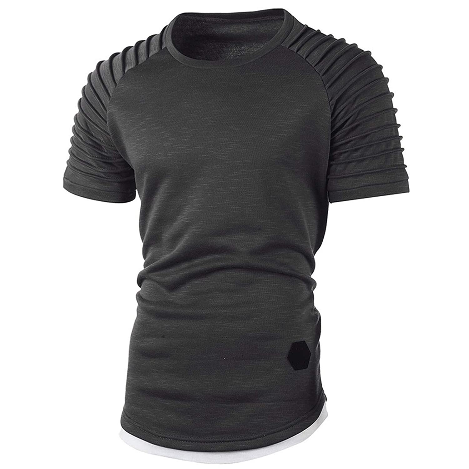 BAOHOKE Round Neck Fake Two-Piece Solid Color Striped Pleated Raglan Sleeve Short-Sleeved t-Shirt for Men