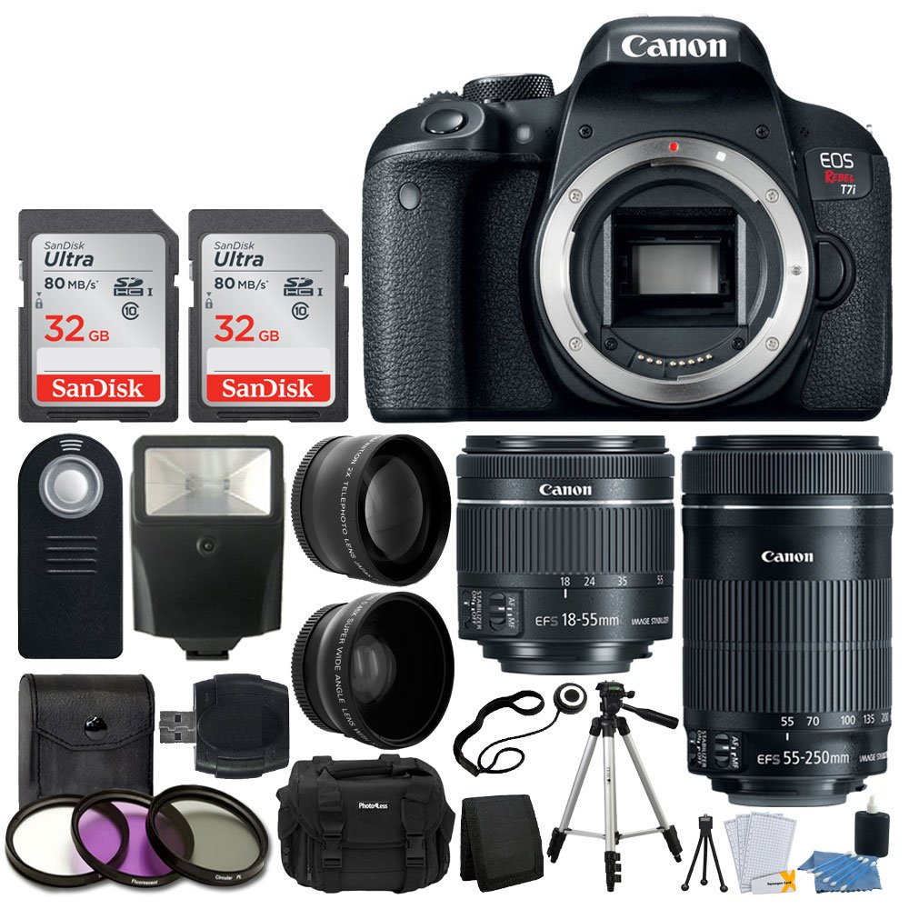 Canon EOS Rebel T7i Digital SLR Camera + EF-S 18-55mm is STM Lens + EF-S 55-250mm is STM Lens + Wide Angle Lens & 2X Telephoto Lens + 64GB Memory Card + Quality Tripod - Complete Accessory Bundle by Canon