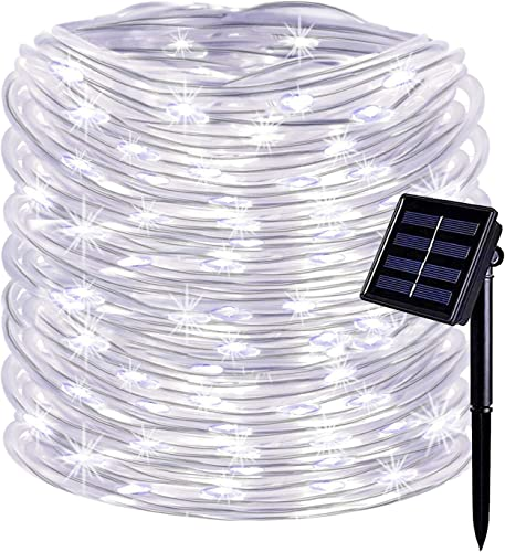 KOMOON Solar Rope Lights 33ft 100 LED Solar Powered String Lights Outdoor Waterproof Christmas Decorative Fairy Lights for Patio Yard Garden Xmas Tree Wedding Party White