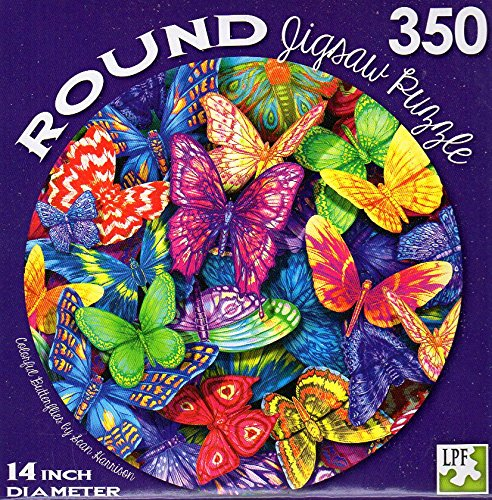 Colorful Butterflies by Sean Harrison - 350 Piece Round Jigsaw Puzzle