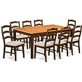 East West Furniture HENL9-BRN-C 9-Piece Dining Table Set