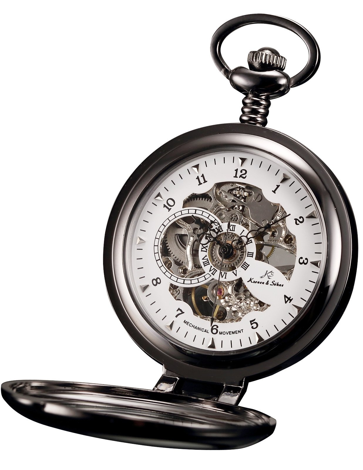 HELMASK pocket watch - Alloy Black Round man mens Analog Mechanical Hand-winding Half hunter Pocket Watch