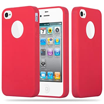 Cadorabo Funda para Apple iPhone 4 / iPhone 4S en Candy Rojo – Cubierta Proteccíon de Silicona TPU Delgada e Flexible con Antichoque – Gel Case Cover ...
