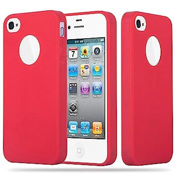 Cadorabo Funda para Apple iPhone 4 / iPhone 4S en Candy Rojo – Cubierta Proteccíon de Silicona TPU Delgada e Flexible con Antichoque – Gel Case Cover ...