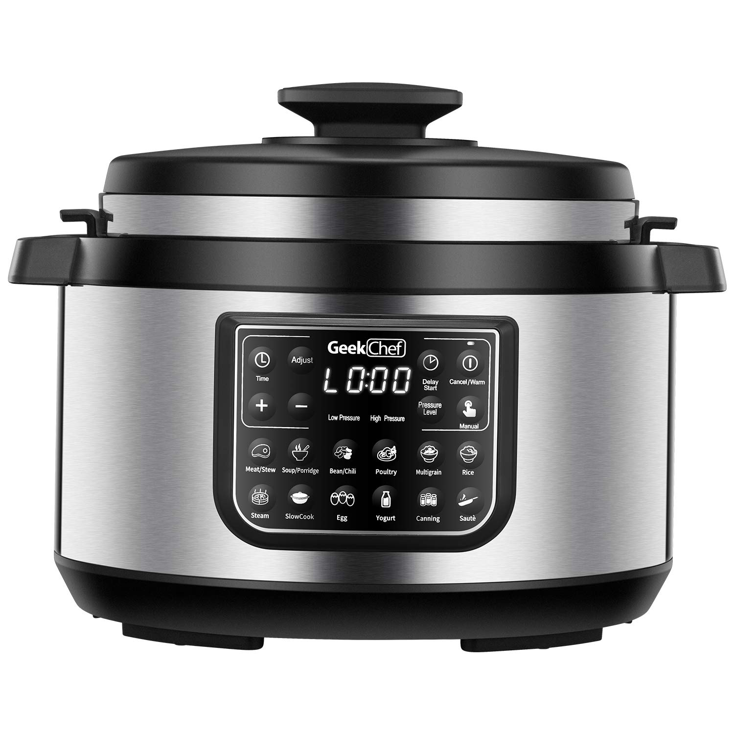 Geek Chef 8 quart OVAL shape multi-functional electric pressure cooker.New technology,designed with non stick oval inner pot, cool-touch handles, EZ-Lock,slower cooker,rice cooker combination