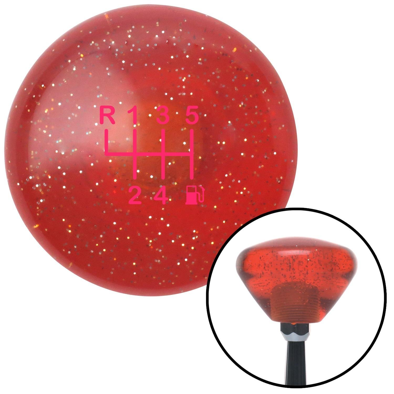 Pink 6 Speed Shift Pattern - Gas 20 Orange Retro Metal Flake American Shifter 288806 Shift Knob
