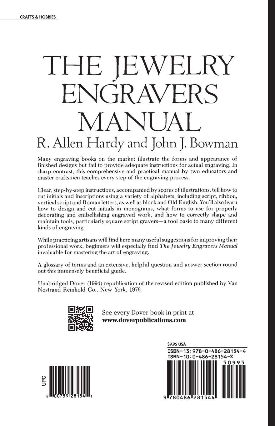 The Jewelry Engravers Manual (Dover Craft Books): R  Allen Hardy