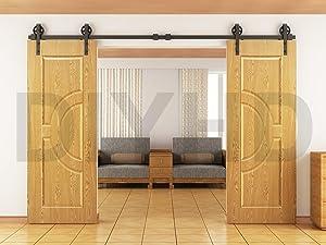 DIYHD 10ft Vintage Spoke Industrial Wheel Double Sliding Barn Wood Door Interior Closet Door Kitchen Door Track Hardware