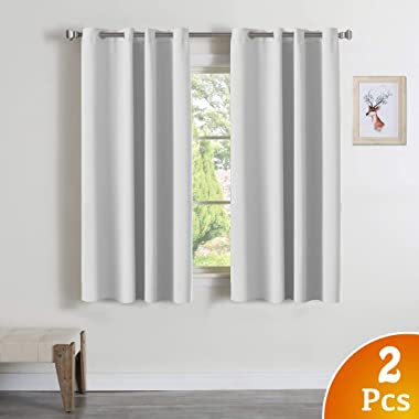 Turquoize Blackout White Curtains Window Treatment Draperies - 52 x 84 Inch, 2 Pieces, Insulating Room Darkening Curtains Drapes for Bedroom/Living Room