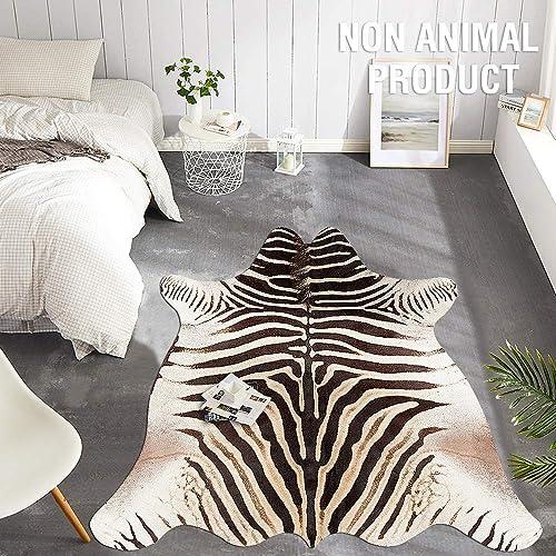 jinchan Zebra Print Area Rug Faux Skin Cowhide Animal Design Mat Safari Rug Indoor floorcover for Bedroom Living Room 5 1 x 6 3 Black